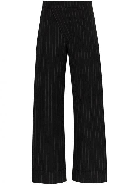 Черные свободные брюки с манжетами с карманами Delada