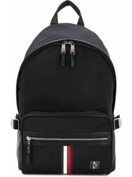 Черный кожаный рюкзак с карманами Tommy Hilfiger
