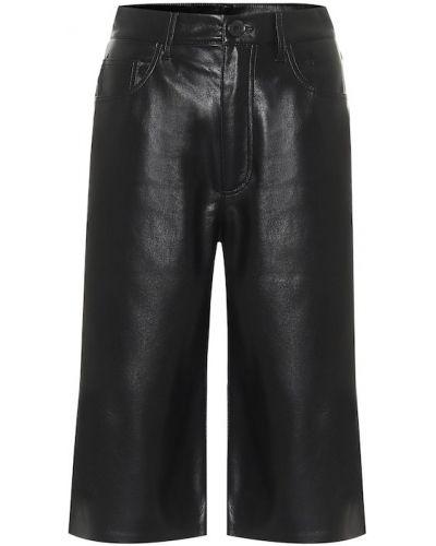 Кожаные черные шорты Nanushka