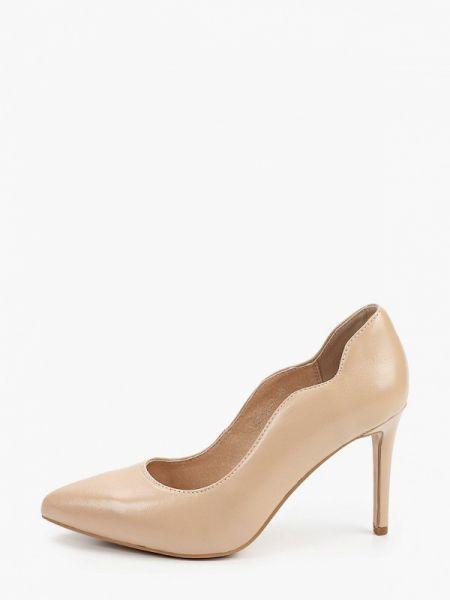 Бежевые кожаные туфли из натуральной кожи Pierre Cardin