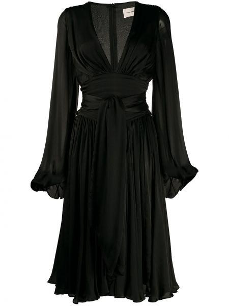 Czarna sukienka midi rozkloszowana z długimi rękawami Alexandre Vauthier