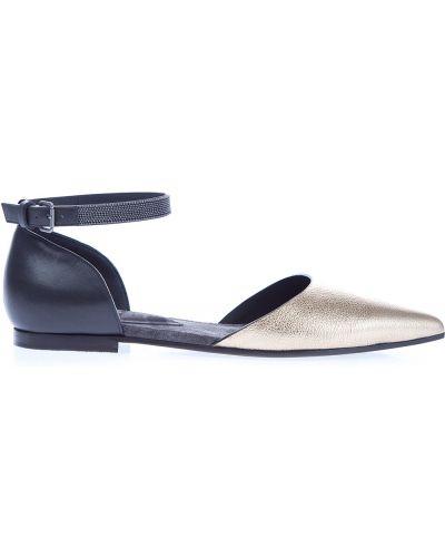 Балетки кожаные на каблуке Brunello Cucinelli