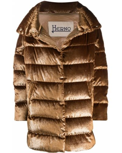 Коричневая куртка на молнии с воротником с перьями Herno