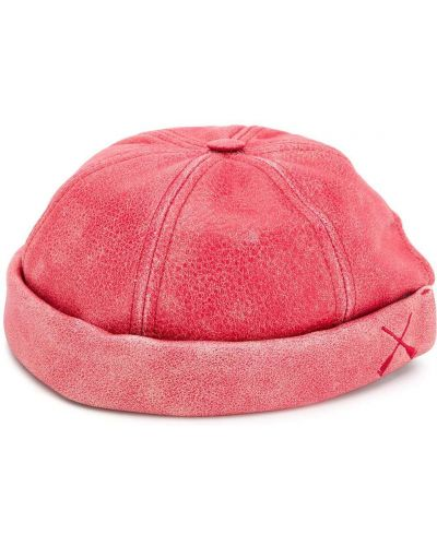 Czerwona czapka skórzana Junya Watanabe