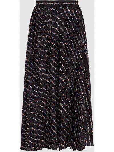 Черная юбка миди Miu Miu