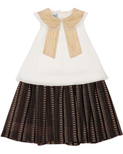 Шелковое белое платье с воротником Mi.mi.sol.