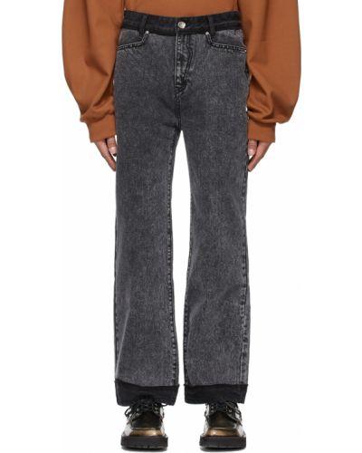 Czarne jeansy z paskiem srebrne Ader Error