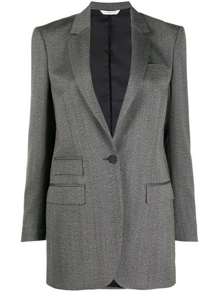 Сатиновая серая длинная куртка с карманами с лацканами Tonello