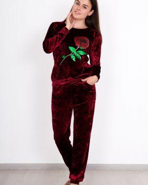 Костюмный бархатный домашний костюм с пайетками с карманами Lika Dress