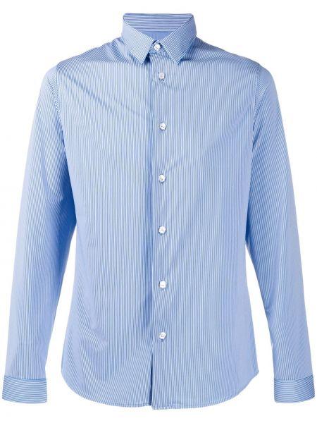 Niebieska klasyczna koszula w paski z długimi rękawami Hydrogen