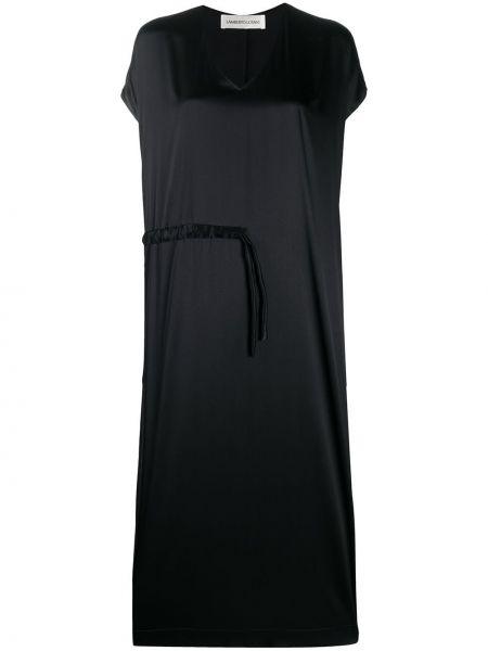 Шелковое черное платье с V-образным вырезом на молнии Lamberto Losani