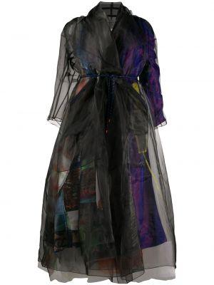 Черное длинное пальто с капюшоном из вискозы Quetsche