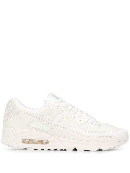 Biały sneakersy na sznurowadłach z siatką z prawdziwej skóry Nike