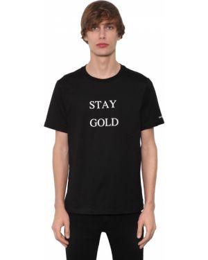 Prążkowany czarny t-shirt bawełniany Takahiromiyashitathesoloist