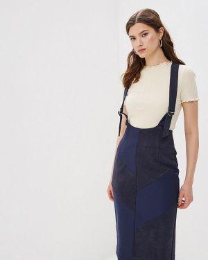 Платье прямое синее Buono