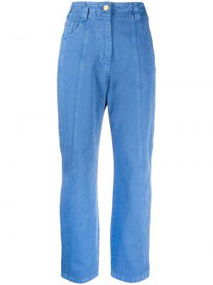 Хлопковые синие джинсы классические с карманами Alberta Ferretti