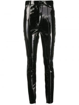 С завышенной талией кожаные черные брюки David Koma