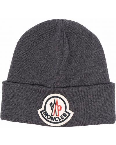 Серая шерстяная шапка бини Moncler