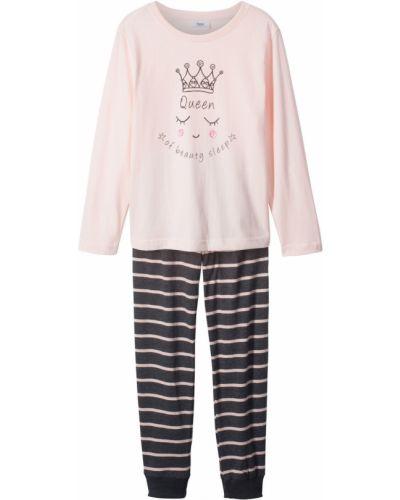 Пижамная розовая пижама с брюками с длинными рукавами Bonprix