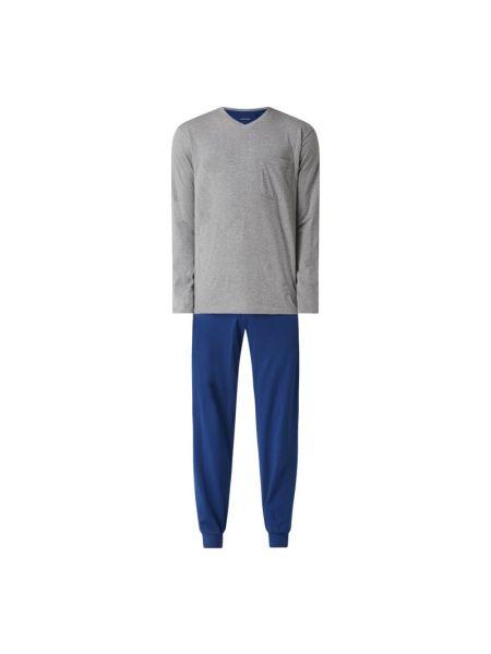 Spodni piżama bawełniana z długimi rękawami z dekoltem w serek Seidensticker