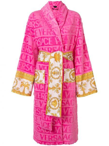 Różowy szlafrok bawełniany z długimi rękawami Versace Home