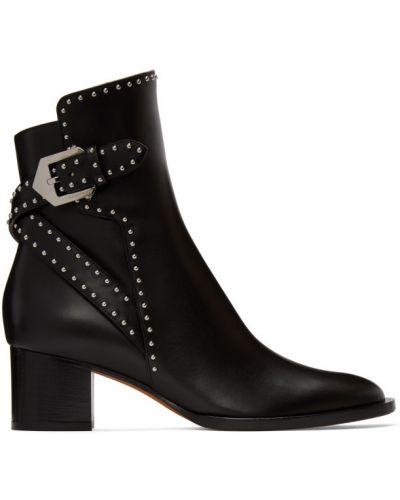 Z paskiem skórzany czarny buty obcasy z klamrą Givenchy
