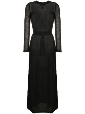 Черное нейлоновое платье с вырезом круглое Courrèges Pre-owned