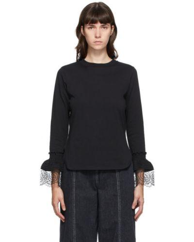 Черная рубашка с воротником с вышивкой с манжетами See By Chloé