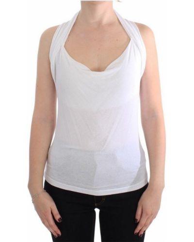 Biała bluzka bez rękawów z wiskozy Plein Sud