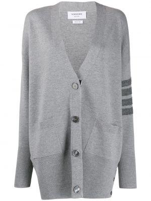 Серое шерстяное длинное пальто свободного кроя Thom Browne