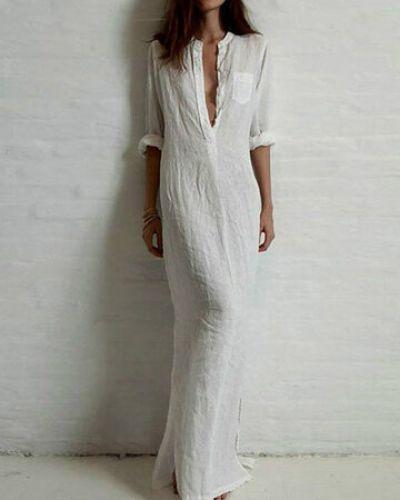 Белое платье макси с длинными рукавами с воротником-стойка Newchic