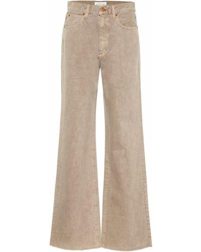 Ватные хлопковые бежевые укороченные джинсы свободного кроя Slvrlake