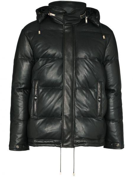 Puchaty czarny pikowana kurtka z kieszeniami z długimi rękawami Saint Laurent