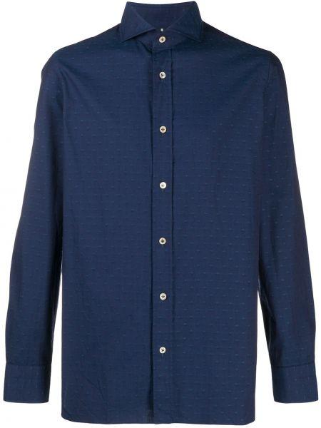 Темно-синяя прямая рубашка с воротником с вышивкой Borrelli