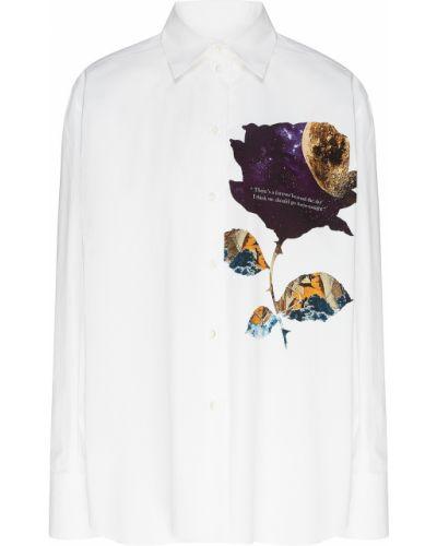 Рубашка с длинным рукавом белая с принтом Valentino