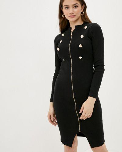 Ватное хлопковое черное прямое платье Fresh Cotton