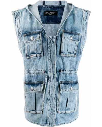 Джинсовая куртка хлопковая серебряная Balmain