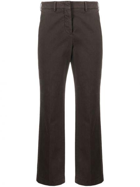 Хлопковые коричневые укороченные брюки с потайной застежкой Incotex