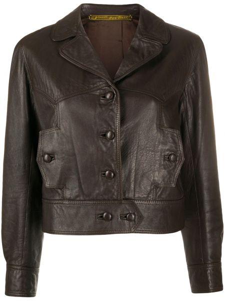 Коричневый кожаный пиджак с карманами A.n.g.e.l.o. Vintage Cult