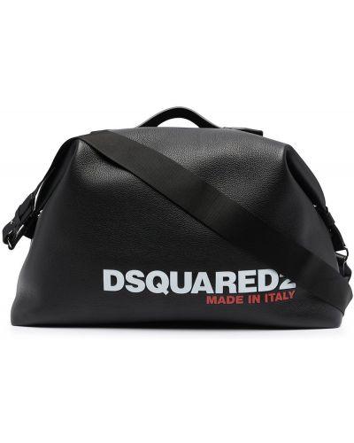 Czarny skórzany z paskiem torba kosmetyczna Dsquared2