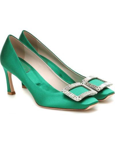 Зеленые кожаные туфли-лодочки Roger Vivier