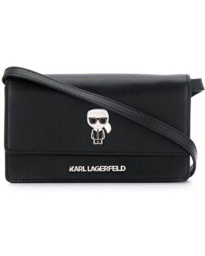 Сумка через плечо с клапаном черная Karl Lagerfeld