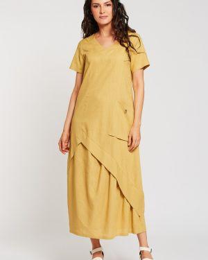 Льняное летнее платье в стиле бохо с V-образным вырезом на молнии D`imma Fashion Studio