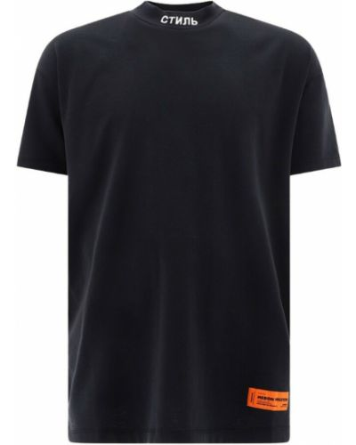 T-shirt z printem - czarna Heron Preston