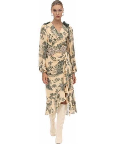 Платье с поясом с вышивкой с бисером Johanna Ortiz