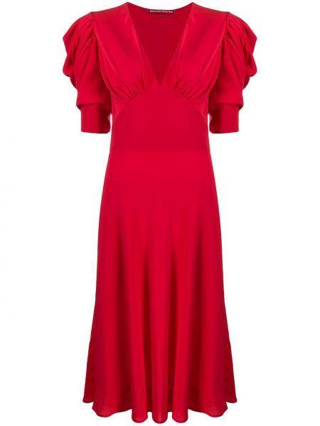 Шелковое красное кружевное платье мини Ermanno Scervino