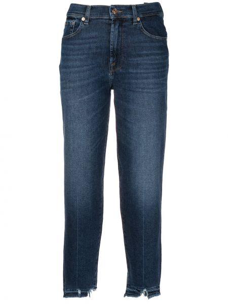 Синие с завышенной талией прямые укороченные джинсы 7 For All Mankind