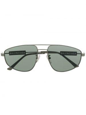 Зеленые солнцезащитные очки металлические Balenciaga Eyewear