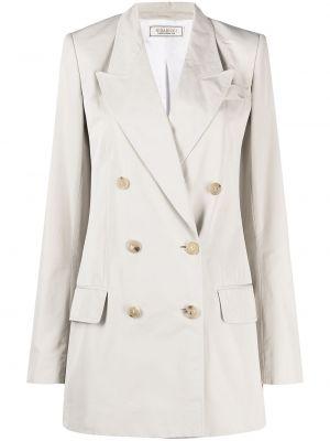 Серый удлиненный пиджак двубортный на пуговицах Nina Ricci
