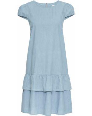 Платье мини джинсовое с оборками Bonprix